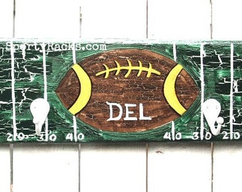 Football Team Colors Sporty Rack Hook Hanger Sports Fan Personalized Gift Kids Room Man Cave Athletic Sport Decor Unique Gift Idea MTO Art