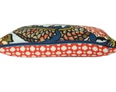 Schumacher Chiang Mai Dragon Lumbar Pillow Cover with Navy Blue Piping and Red Betwixt Backing