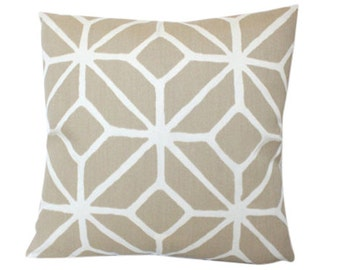 Outdoor Pillow Cover in Schumacher Trellis Print in Sand