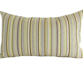 Striped Lumbar Pillow Cover, Contemporary Brown, Ivory and Chartreuse Stripes