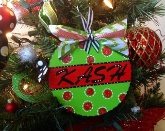 Christmas Ornament Personalized Wooden Ornament Handmade Ornament Polka Dot