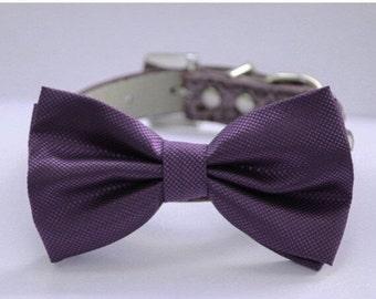 Purple wedding dog collar,  Dog Bow tie attach to high quality leather collar, Wedding accessory, Xlarge dog collar