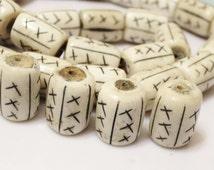 Large African Bone Beads (6), Kenya Bone Beads , Ethnic Beads, Black White Beads (C86)