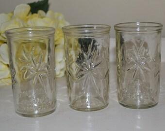 4 Swanky Swig Starburst Jelly Jars or Juice Glass Set - 1 is 50th Anniversary