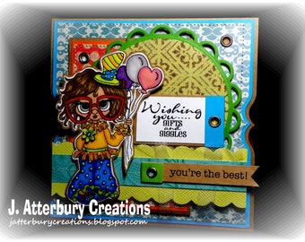 OOAK---Wishing Gifts and Giggles Card + Matching Envelope Box