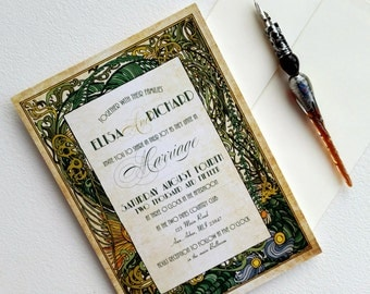Art deco Wedding Invitations - Retro Vintage Wedding invitation sample {Madera design}