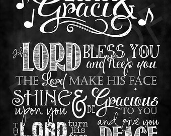 Scripture Art - Affirmation Sign with Numbers 6:24-26 Chalkboard Style