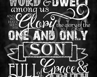 Scripture Art - John 1:14 Chalkboard Style