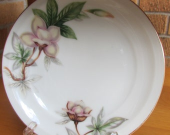 """WOODROSE MEITO  Bread and Butter  Plate  6 3/8"""" Pink and Tan Flowers Green Leaves (6) available"""