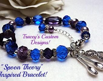 "Stunning RA ""SPOON THEORY"" Inspired Awareness Bracelet - Rheumatoid Arthritis"