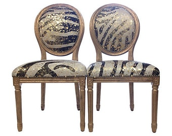 Pair of Genuine Cowhide Accent Chairs French Louis XVI style Dining Chairs, set of 2