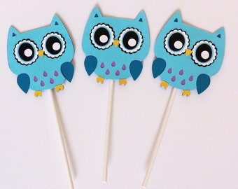 Owl Cupcake Toppers- Set of 12