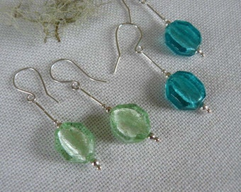 Made in Scotland. Sterling Silver Earrings with Mint Green or  Blue Teal octagons.