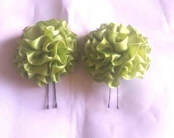 Hair Pins Celery Green Satin Ruffle Flower Wedding Accessories Bridal Hair Flower Pins Formal Hair Flowers Green Hair Flowers