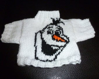 Hand Knitted Olaf from Frozen Sweater to fit Build a Bear