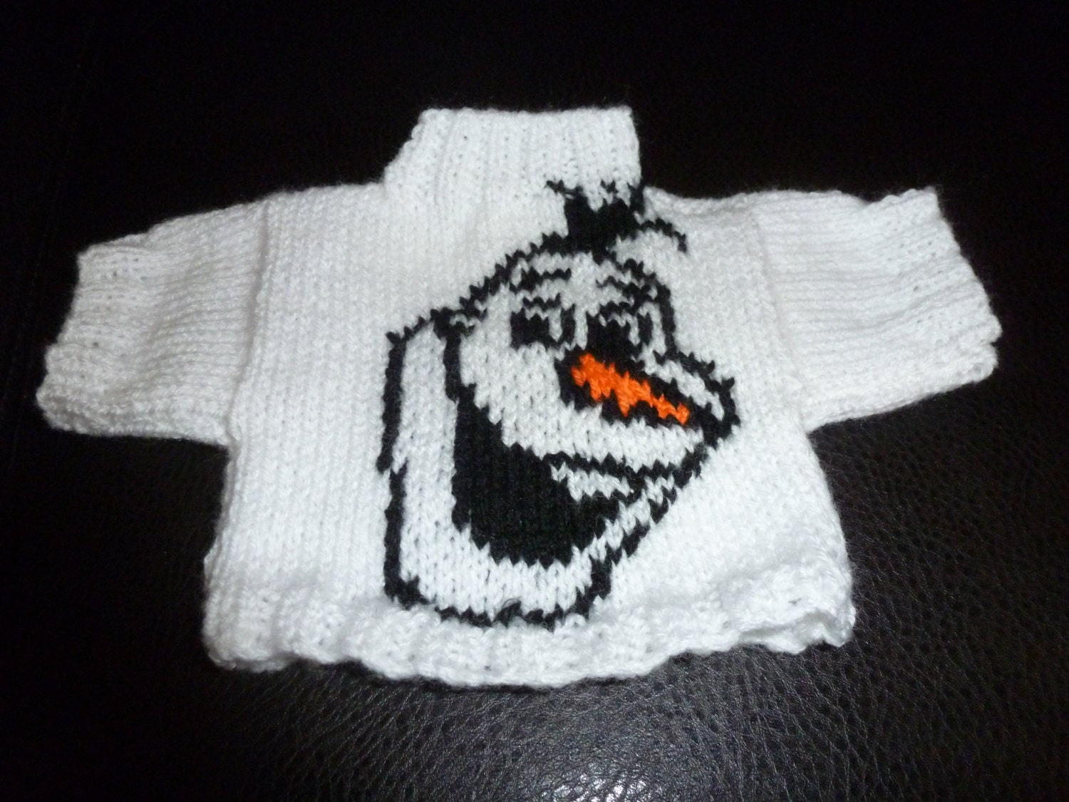 Olaf Christmas Jumper Knitting Pattern : Hand Knitted Olaf from Frozen Sweater to fit Build a Bear