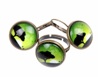 Together loops earrings and ring large tree