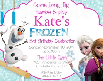 Frozen Olaf Queen Elsa Girls Trampoline or Gymnastic Birthday Invitation & Tags - Printable File