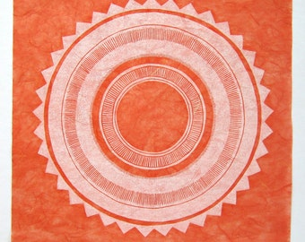 linocut - SUN STAR, white ink on orange Unryu - 12x12 / printmaking / block print / geometric / contemporary