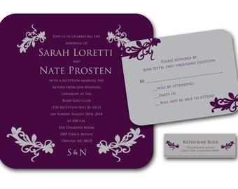 Summer Breeze Square Wedding Invitation Set - Purple and Silver, Monogram, Wedding Invitation, Rustic, Country Weddings