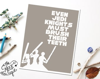 INSTANT Download, Star Wars Bathroom Wall Art Printable, Brush Teeth, No. 32