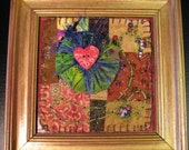 vintage recycled frame, small mixed media quilt, wall hanging