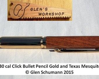 Bullet Pencil Handmade replica 30 cal Gold Texas Mesquite