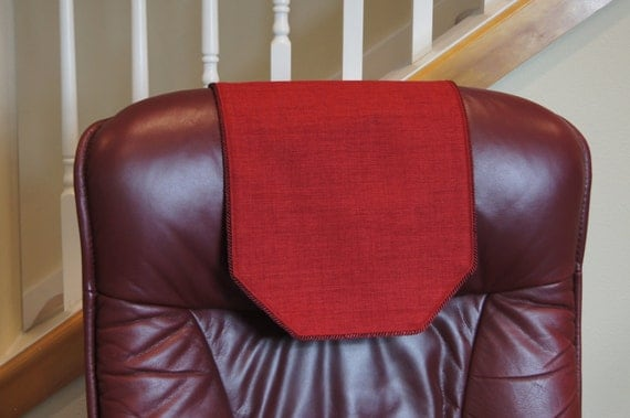Recliner Chair Headrest Cover Rusty Red Upholstery By