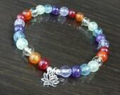 Chakra Balancing Lotus Bracelet in Multi Gemstone, Seven Chakras, Reiki Infused Wrist Mala