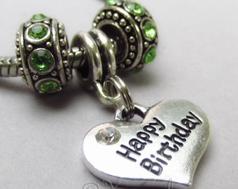 Happy Birthday European Charm Pendant And Rhinestone Birthstone Beads For All Large Hole Charm Braceletsirthday Gift