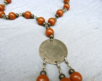 70s Ethnic Necklace with Coins and Amber Beads