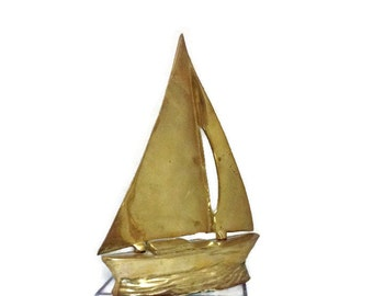Sail boat, solid brass, vintage nautical home deco, beautiful patina