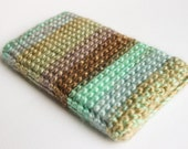 iPhone 6 Sleeve - Turquoise Brown Smartphone Case Phone Pouch Crochet iPhone Accessory - Soft Cozy Modern Phone Wallet iPhone 6 case for him