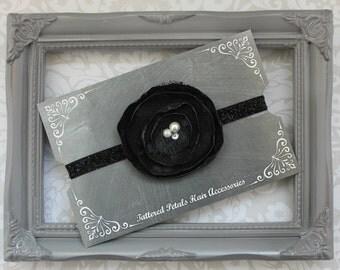 Vintage black lace and pearl flower adjustable headband