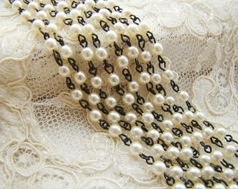 Ivory Pearl 4mm Glass Beaded Rosary Chain Black Patina Links – 1 Ft.