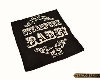 Steampunk Babe T-shirt white on black