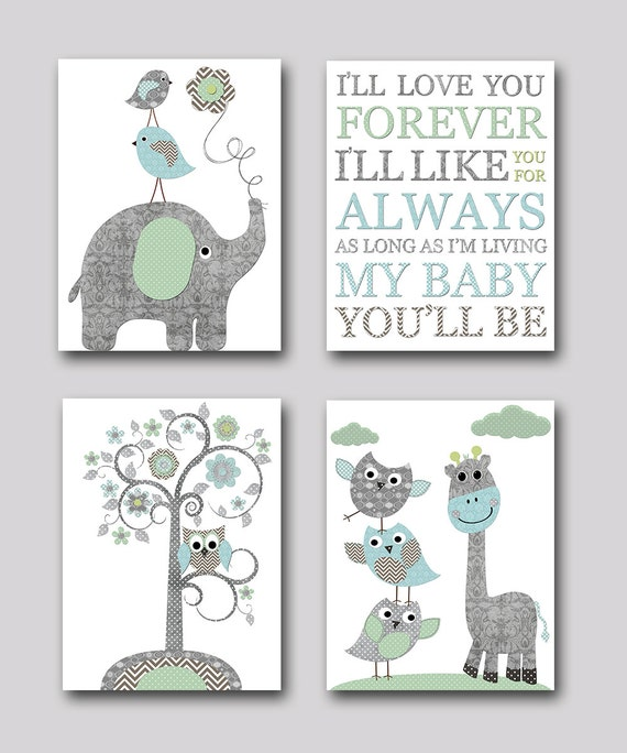 Nursery print kids wall art kid art baby room decor baby - Wall decor for baby boy ...