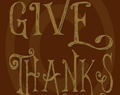 Primitive Colonial Redware Look Thanksgiving Give Thanks Printable Digital JPEG Instant Download Folk Art FAAP
