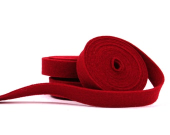 Wool Felt - 100 Percent Wool Felt Ribbon in color CRIMSON -1/2 inch X  2 yards - Merino Wool Felt - Red Ribbon - Crimson Ribbon