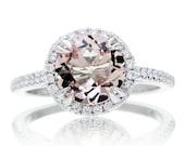 14 Karat 8mm Round Morganite Diamond Halo Solitaire Engagement Anniversary Ring
