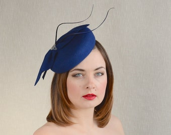 Blue Felt Pillbox Hat with Quills - Pantone 2015 Classic Blue Fascinator