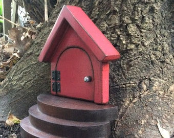 Red Gnome door, Hobbit door, Fairy door, Troll door, Handmade,  Fairy garden, imaginative play.