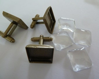 10 x Square Antique bronze cufflinks AND matching glass domes 15mm