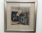 Mid Century Modern Cubist Cityscape Oil Pastel Original Painting Custom Framed with Double Mat and Glass