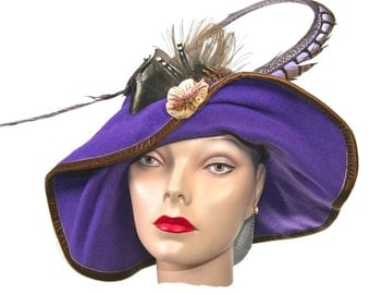 WIDE BRIM Purple Felt  Womens Hat, , Medium Brim Winter Hat, Avant Guard Women Hat