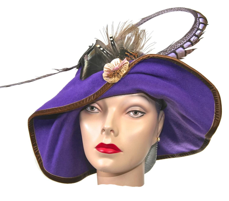 wide brim purple felt womens hat medium brim winter hat
