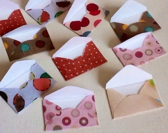 Tiny envelopes - inserts - mini envelopes - miniature envelopes - Toothfairy envelopes- scrapbooking - polka dot - hand punched - set of 12