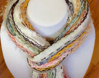 Hand made scarves: Fringe Scarf - Pastel colors- pink - cream - off white - Crocheted - Soft - Warm - Fashion Scarf - handmade by Wcards