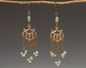 Chandelier Earrings with Vintage Brass, Aquamarine & Chain