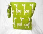 Wet Bag Stand Up Large Green Giraffes Zipper Personalize Handle for Children Babies Toddler Diaper Bag Pouch Shower Gift Waterproof Swim Bag